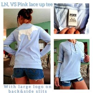 VS Pink Lace Up Long Sleeve